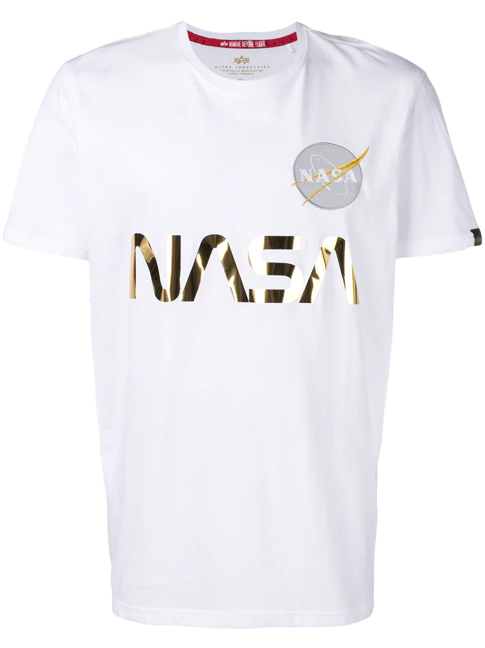 alpha industries nasa reflective t shirt white modesens. Black Bedroom Furniture Sets. Home Design Ideas