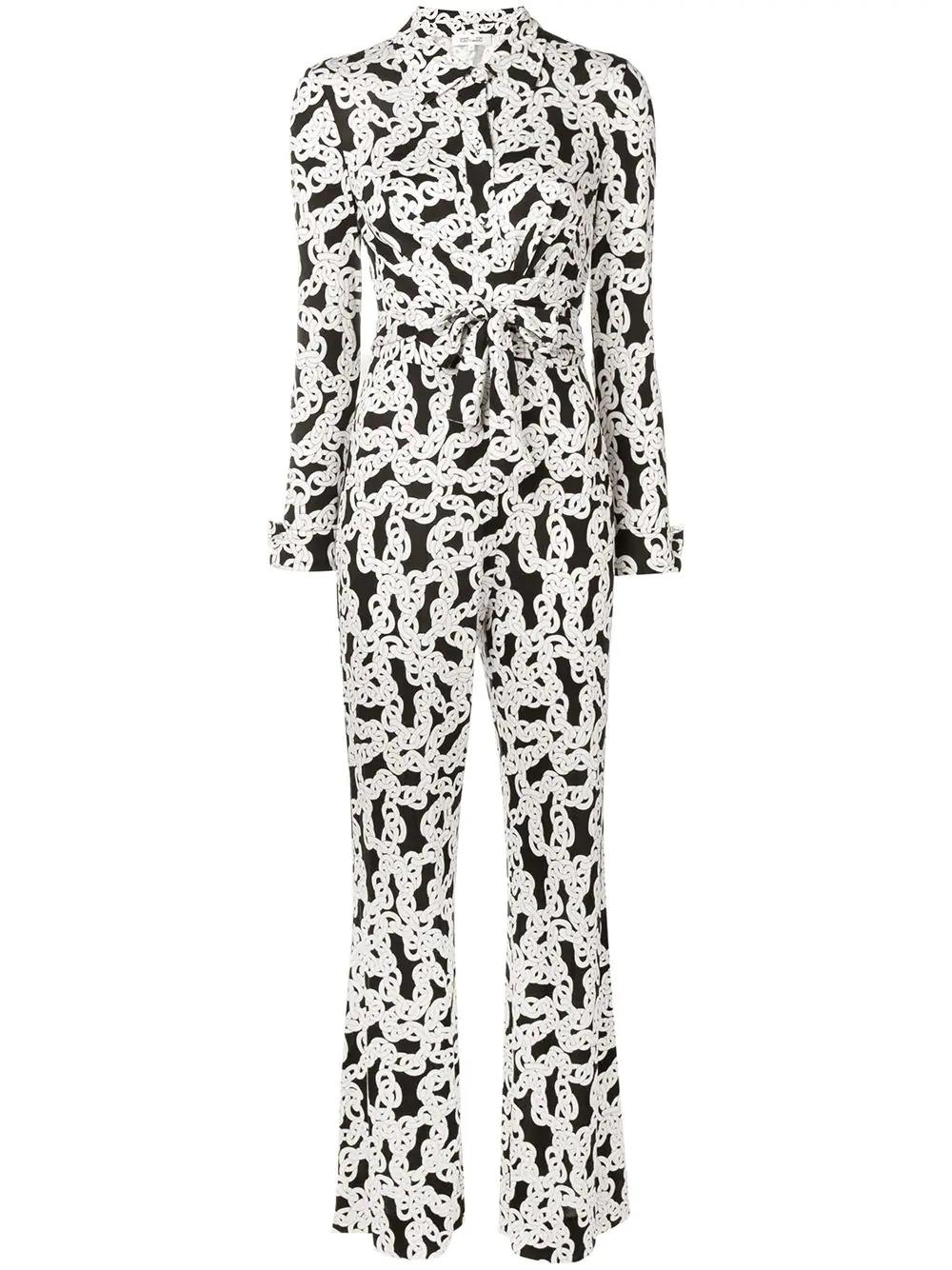 18726522bb5 White and black silk chain print jumpsuit from Dvf Diane Von Furstenberg  featuring a classic collar