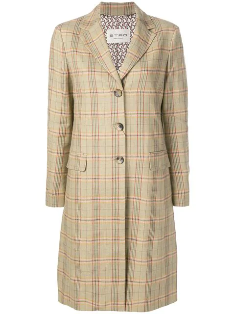 Etro Plaid Single Breasted Coat In Brown