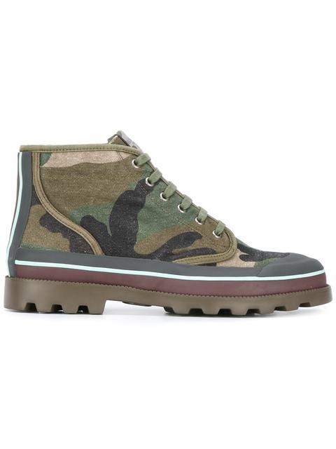 Valentino Id Camo Canvas Hiking Boot, Multicolor In Green