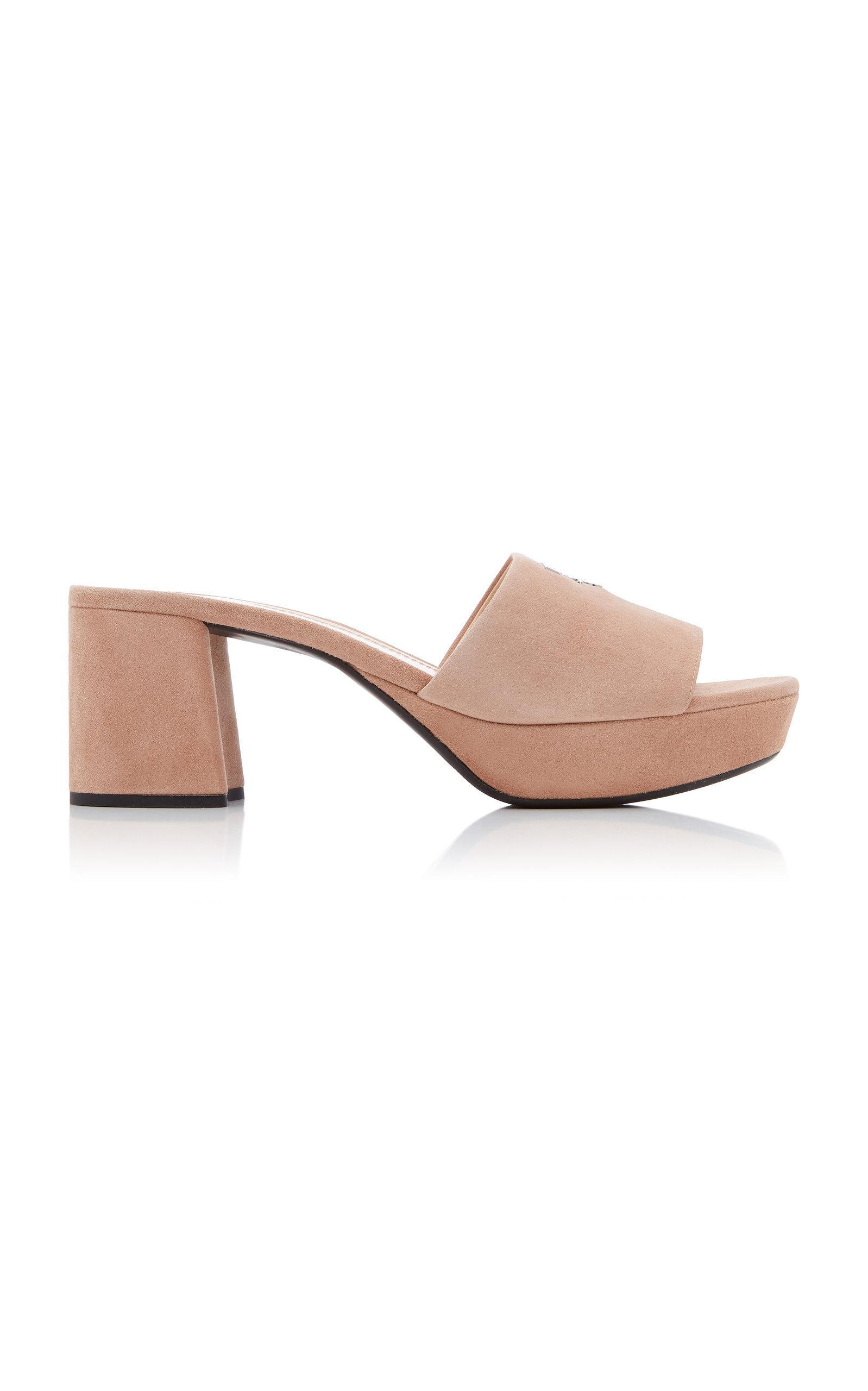 Prada Suede Platform Sandals In Neutral