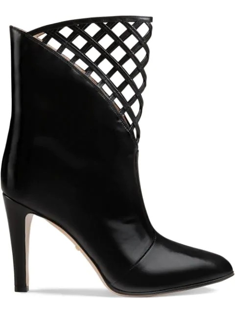 Gucci Cutout Leather Ankle Boot In Black