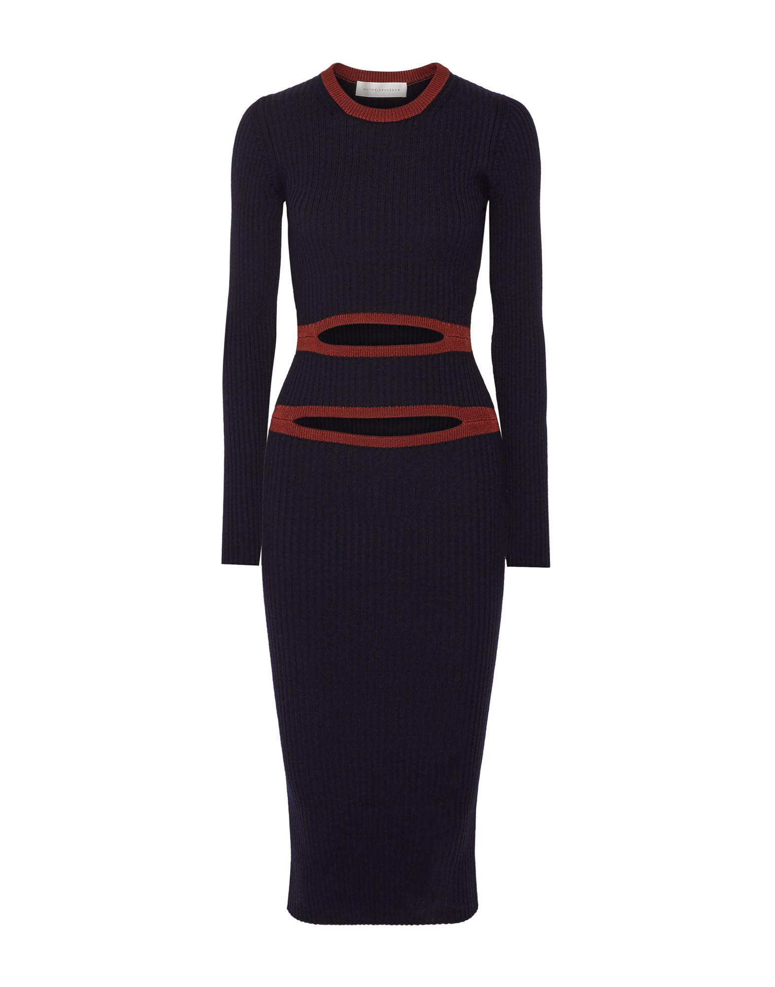 Victoria Beckham Midi Dress In Dark Blue