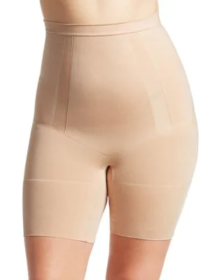 7844a7e5c3 Spanx Plus Oncore High-Waisted Mid-Thigh Shaper Shorts In Soft Nude ...