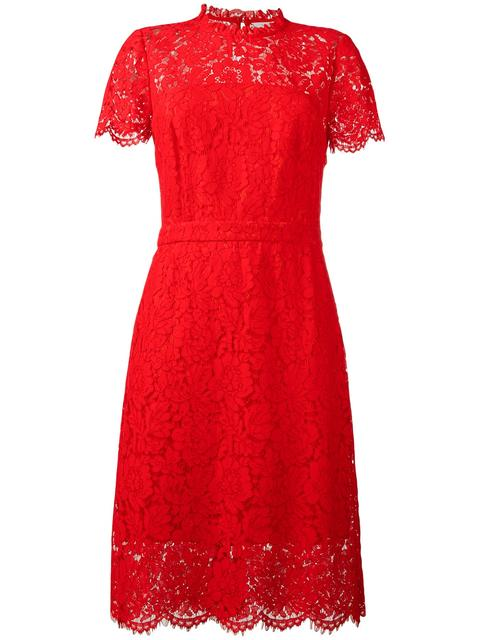 Diane Von Furstenberg Alma Lace Sheath Dress, Black In Scandal Red