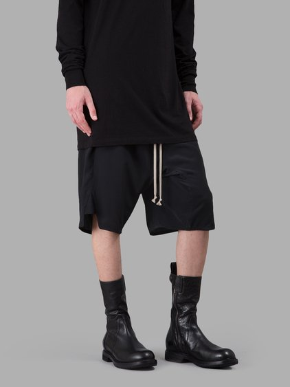 Rick Owens Dropped Crotch Track Shorts In Black