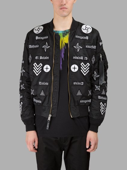 Marcelo Burlon County Of Milan X Alpha Industries 'roldan' Embroidered Patch Ma-1 Bomber Jacket In Black