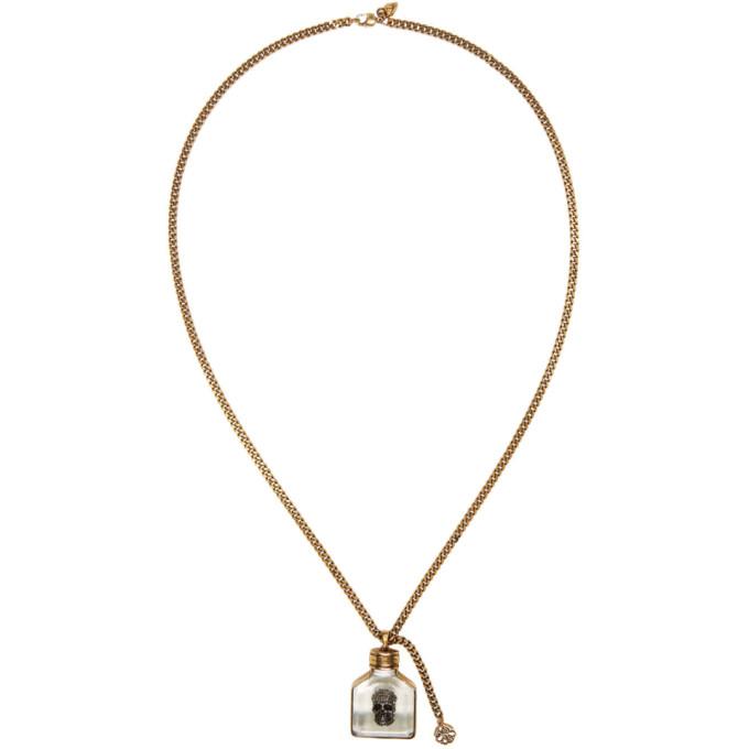 Alexander Mcqueen Gold Skull Charm Necklace In 7414 Resina