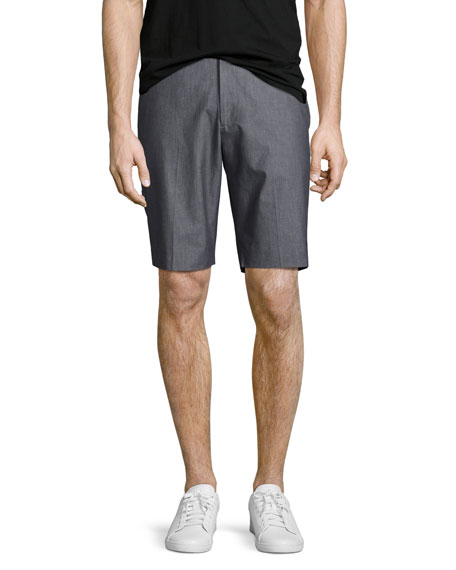 Theory Beck Hallstat Stretch-cotton Shorts, Charcoal