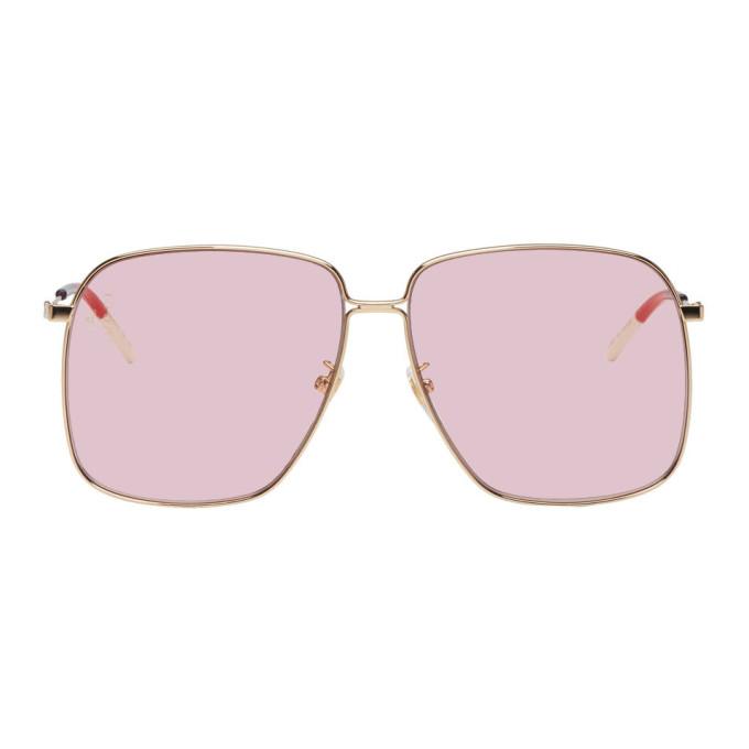 Gucci Pink Metal Rectangular-Frame Sunglasses In 004 Pinklen