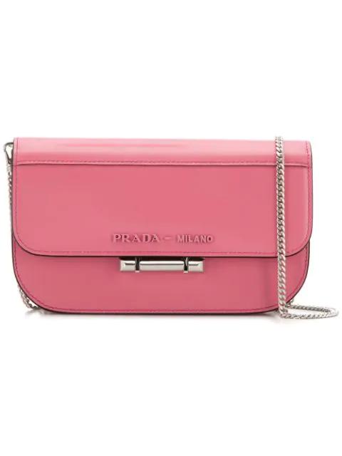 Prada Foldover Top Crossbody Bag In Pink