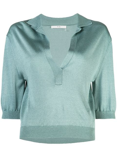 Tibi Rugby Elbow-sleeve Cropped Polo Top In Egg Blue