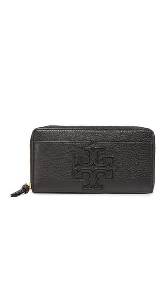 Tory Burch Harper Zip Continental Wallet In Black
