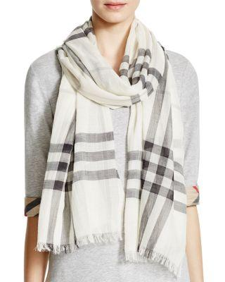 Burberry Giant Check Wool & Silk Gauze Scarf In Natural White