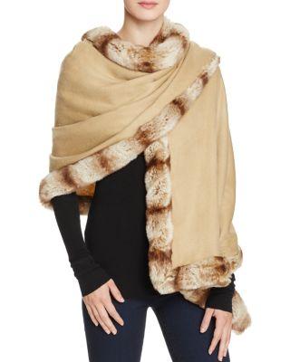 Badgley Mischka Faux Fur Trim Wrap In Camel