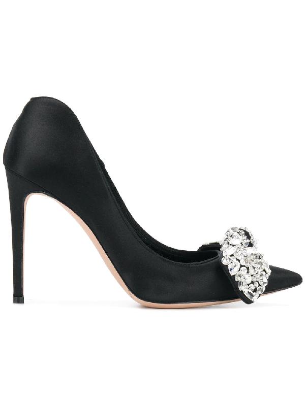 Alexander Mcqueen Crystal-Embellished Bow Heart-Shaped Heel Pump In Black