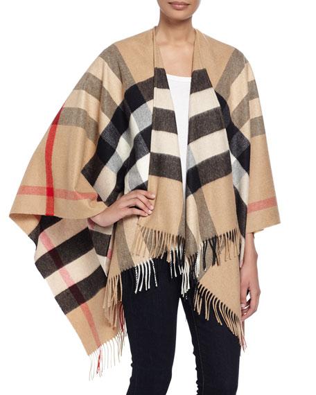 Burberry Collette Merino Wool & Cashmere Check Cape In Camel