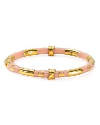 Tory Burch Oro Stripe Bangle Bracelet In Light Oak