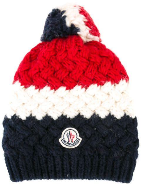 Moncler Cashmere Chunky-knit Pom-pom Hat, Ivory/navy/red