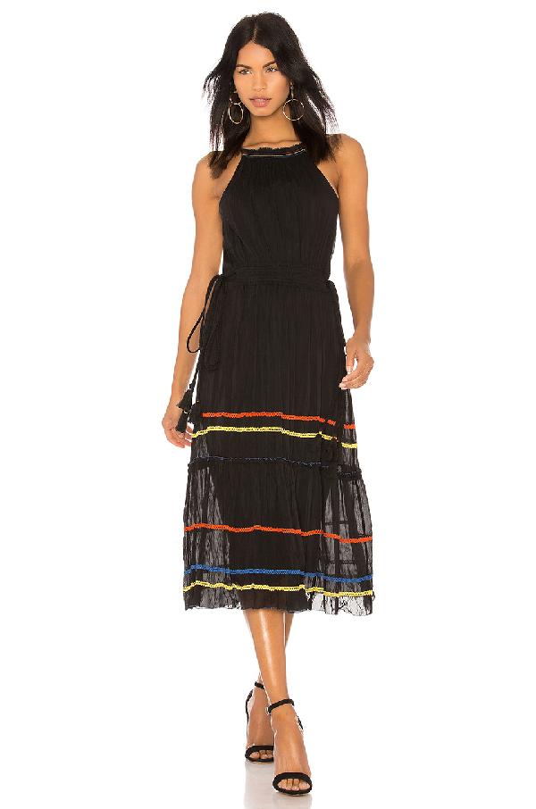 Joie Danit Embroidered Stripe Cotton & Silk Dress In Caviar
