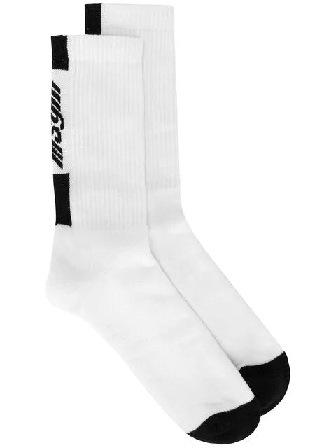 Msgm Logo Knitted Socks In White