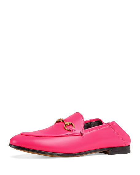 Gucci Brixton Neon Leather Horsebit Loafers In Bright Pink