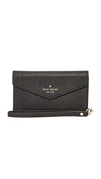 Kate Spade Iphone 7 & 7 Plus Leather Wristlet In Black