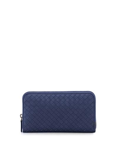 Bottega Veneta Continental Zip-Around Woven Wallet, Royal Blue In Atlantic