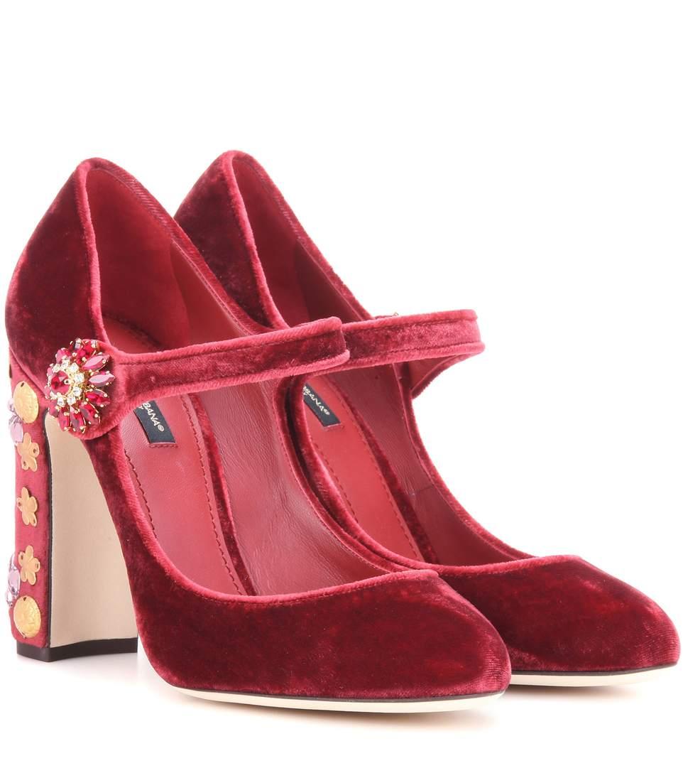Dolce & Gabbana Exclusive To Mytheresa.com - Embellished Velvet Pumps In Red