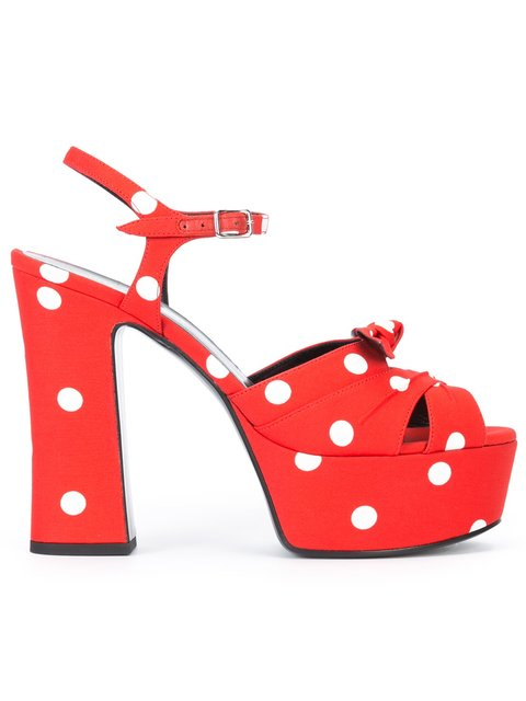 Saint Laurent Candy 80 Bow Platform Sandals In Red