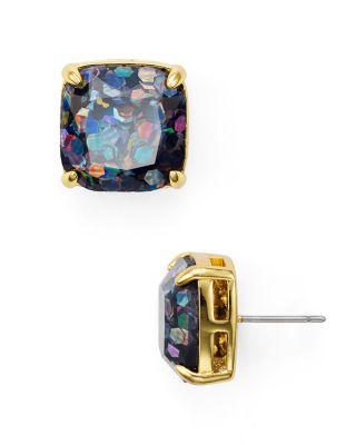 Kate Spade Small Square Glitter Stud Earrings In Black Multi Glitter