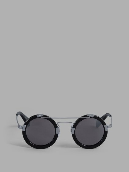 Yohji Yamamoto Black Rounded Sunglasses With Metal Details