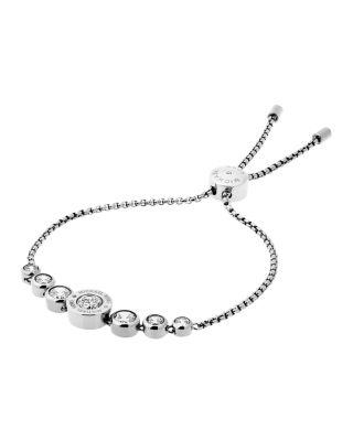 Michael Kors Logo Disc Slider Bracelet In Silver