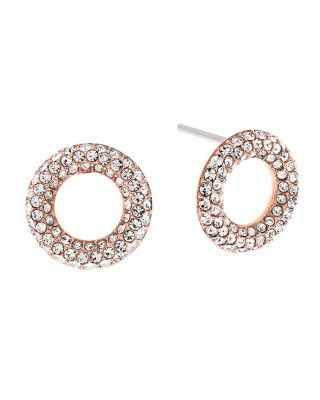 Michael Kors Brilliance PavÉ Crystal Stud Earrings/rose Goldtone