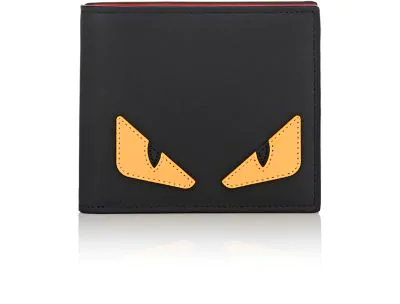 Fendi Monster Leather Fold Wallet In Black