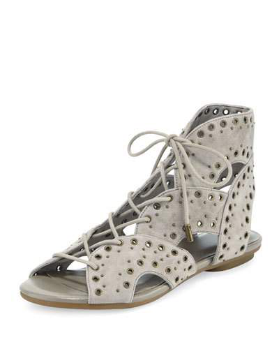 Joie Fabienne Lace-up Flat Sandal, Gray