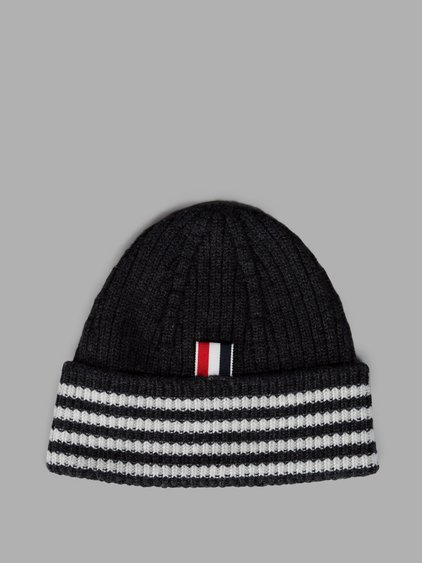 Thom Browne Cashmere Wide Rib Knit Beanie Hat In Navy