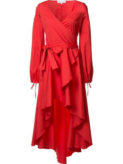 Caroline Constas Lena Asymmetric Wrap-effect Cotton-blend Mini Dress In Red