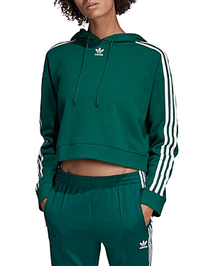 Adidas Originals Adicolor Cropped Hoodie In Green Green