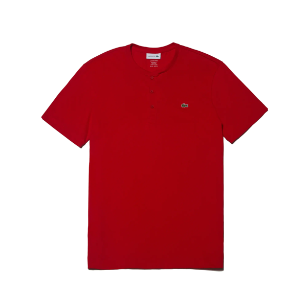 Lacoste Men's Henley Neck Pima Cotton Jersey T-shirt In Red