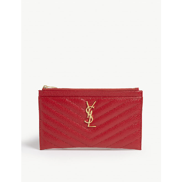 e81a58d4d8a Saint Laurent Monogram Ysl Matte Quilted Bill Pouch Wallet In Bandana Red