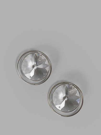 Maison Margiela Round Crystal Stud Earrings In Silver