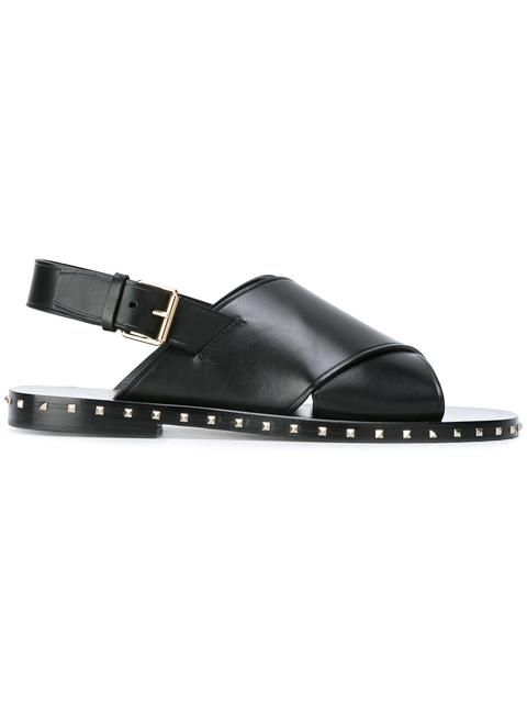 Valentino Studded Leather Sandals In Black