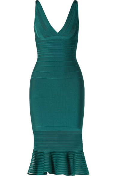 Herve Leger Sleeveless Tulle-striped Illusion-flounce Dress In Emerald