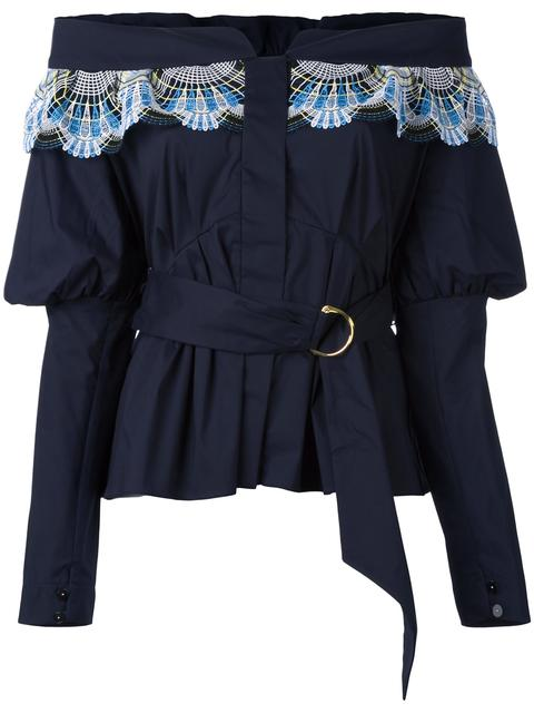 Peter Pilotto Lace-trim Off-the-shoulder Cotton-blend Top In Navy