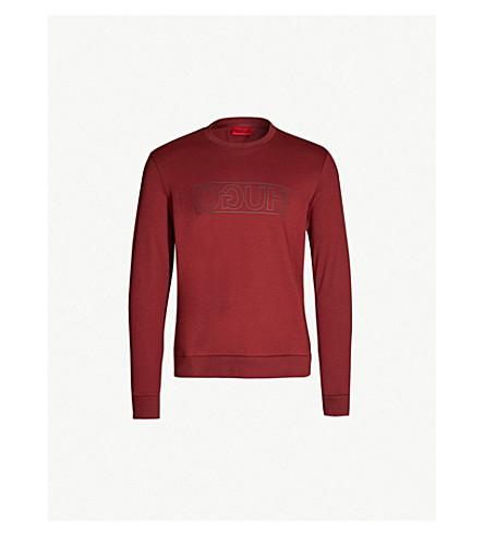 Hugo Logo-print Cotton-jersey Sweatshirt In Dark Red