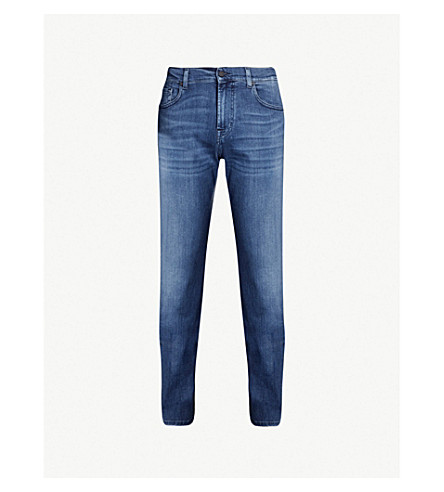 7 For All Mankind Standard Luxe Performance Plus Regular-fit Straight Jeans In Mid Blue