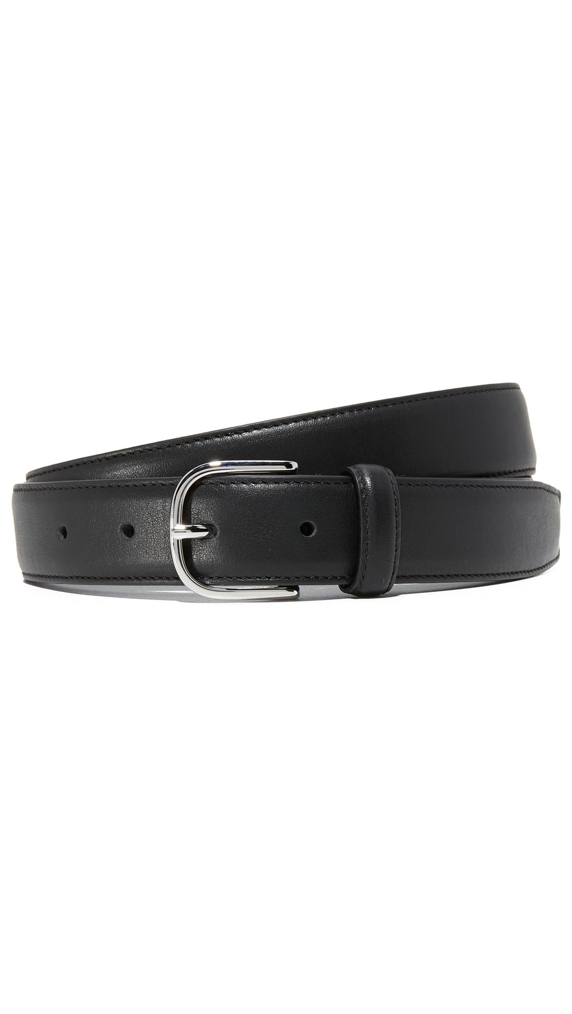 Club Monaco Leather Dress Belt In Black