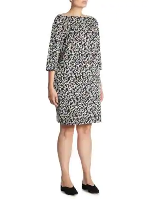 Joan Vass Women's Audrey Jacquard Floral Cotton Dress In Black