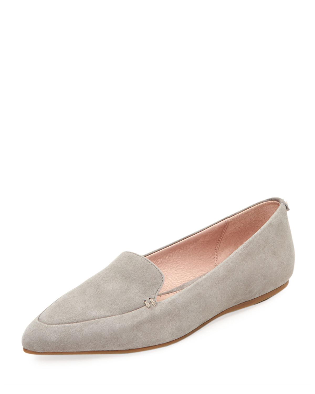 2c960e26d01 Taryn Rose Faye Suede Flat Loafers In Gray